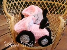 Custom Boutique Crochet Pink Tractor Baby Booties by agapebebe