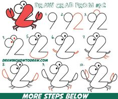 How to Draw Cartoon Crab from Numbers 92 Easy Step by Step Drawing Tutorial for Kids How to Draw Step by Step Drawing Tutorials Word Drawings, Doodle Drawings, Cartoon Drawings, Animal Drawings, Basic Drawing, Drawing Lessons, Step By Step Drawing, Drawing Tips, Drawing Techniques
