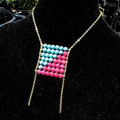 Jeff made this one! I wouldn't have thought of this design, so I LOVE it. You? Pixel Dust Gemstone Grid Necklace by FantasticReVision on Etsy, $28.00