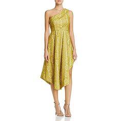 Elliatt Womens Delirium Jacquard One Shoulder Cocktail Dress Yellow M