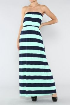 salediem.com Summer is here. FREE Shipping Strapless Stripe Dress