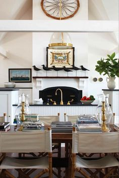 Love this kitchen dining with coastal flare