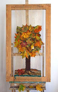 woven tapestry Autumn tree by GalaFilc, via Flickr #experimental #tapestry #woven #felting #felt #wool #handwoven #gobelin