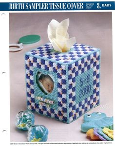 PUBLICATION TITLE: Birth Sampler Tissue Cover. FINISHED PROJECT SIZE: Fits boutique tissue box. PLASTIC CANVAS MESH SIZE: 7-count. CRAFT TYPE: Plastic Canvas. PUBLICATION PRODUCT: Pattern leaflet with written instructions. | eBay!