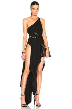 ANTHONY VACCARELLO $3,387 high cut slit gown asymmetic metal ring dress 38 NEW #AnthonyVaccarello #highslitdress #Cocktail  #highslit #Cutout #oneshoulder