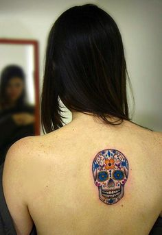 Mexican Style Skull Tattoo! I'm obsessed with Dias de la Muerte!