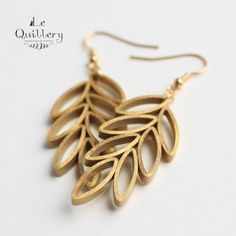 Quilling Jewelry  Quilled Paper Unique Statement Earrings -  Gold Leaves by LeQuillery, $17.00