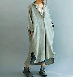Women Loose Fitting linen Long dress/ Asymmetric oversized loose linen dress