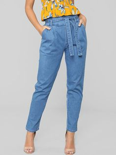 High Waisted Tie Belt Pockets Denim Pants For Women - Power Day Sale High Waisted Tie Pants, High Waist Jeans, Cute Fall Outfits, Chic Outfits, Fashion Outfits, Fashion Wear, Womens Fashion, Denim Pants, Jeans Leggings