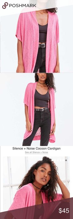 Urban outfitters, silence + noise cocoon cardigan New with tag , never worn, made in USA , 64% rayon, 36% polyester, tagged as XS but fits everybody as it's open and loose ‼️get it fast before I change my mind and keep it for myself. I love it so pretty firm on price 😻😂🙂 Urban Outfitters ( silence+noise )  Sweaters Cardigans