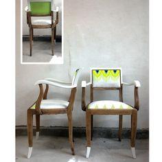 Chaises revisitées      Tissu lin :  Modèle présenté : blanc  Disponible en lin naturel    Motif :  Design textile jeux de lin printemps été 2012 en séri