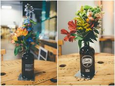 Growler vases, table decorations, craft beer wedding, growler table toppers