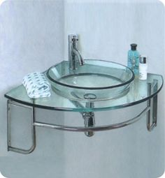 A Glass Vanity Set will make a bathroom look elegant and gorgeous. Shop for Glass Sink Vanity at Blue Bath. Our selection includes vanity glass tops, glass bath vanities, bathroom vanity glass and more. Vessel Sink Vanity, Glass Vessel Sinks, Glass Vanity, Sink Faucets, Vanity Countertop, Lavatory Sink, Kitchen Faucets, Corner Bathroom Vanity, Glass Bathroom