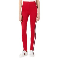 Gucci Jersey Stirrup Leggings with Sylvie Web ($890) ❤ liked on Polyvore featuring pants, leggings, bright red, high-rise leggings, stirrup pants, red high waisted leggings, jersey leggings and high waisted skinny pants
