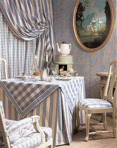 lovely vignette - DIY version: cover a card table with a fitted skirt, top with coordinating square topper on the diagonal; use coordinating draperies/curtains ~ Pierre Frey
