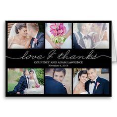 Lovely Writing Wedding Thank You Card - Black