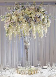 Color Inspiration: Shining Silver Wedding Ideas - wedding centerpiece idea via Preston Bailey Floral Centerpieces, Wedding Centerpieces, Wedding Table, Floral Arrangements, Wedding Reception, Wedding Decorations, Centrepieces, Tall Centerpiece, Centerpiece Ideas