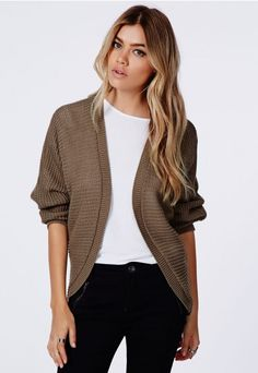 Cecyla Batwing Cardigan Stone - Missguided