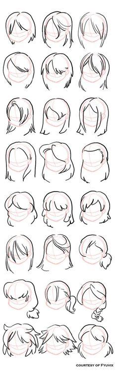 Como desenhar Hairstyles- reta com agradecimentos Tom = Fyuvix no deviantART, como desenhar Pessoas, Recursos para estudantes de arte, CAPI