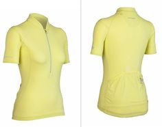 "Icebreaker Rhythm Jersey on Fit Sugar:  ""Screaming yellow isn't the only variation of the sunny hue perfect for cycling. Icebreaker's Rhythm Jersey ($140) in citrine is still bright enough that you'll be seen without having to go neon! Made of eco-friendly and naturally wicking merino wool, this jersey has tons of pockets for stashing your gear while riding — we love the zippered back pocket for keys or other valuables.""    http://www.fitsugar.com/pastel-colored-workout-gear-22218146?slide=1"