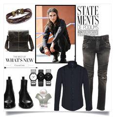 """The Dark Side"" by freida-adams ❤ liked on Polyvore featuring Balmain, Givenchy, Armani Jeans, men's fashion, menswear, jewelry, MensFashion, manbag and mensjewelry"