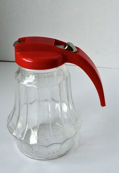 Vintage Syrup Dispenser. Federal Tool Corp. Red lid. by Cosasraras, $9.00