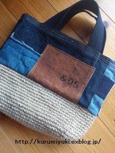 デニムのリメイク風バッグや裂き布のバッグや麻紐のキーホルダー作りました~ : kokochiよく暮らそ。 KRM WORKS.の手作り日記