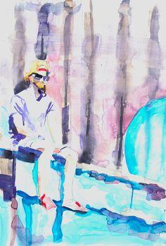 Blue Bubble Boss Watercolour, Nostalgia, Bubbles, The Past, Blue, Painting, Image, Art, Pen And Wash