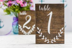 Romantic Wood Table Numbers. These beautiful romantic wood table numbers are perfect for a spring or summer wedding!
