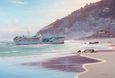 Painting of a Clifton Shipwreck Cape Town South African Artists, Seascape Paintings, Shipwreck, Cape Town, Westerns, Reflection, Bath, Bathing, Ocean Drawing