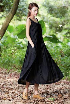 Des robes jupes Lin noir chemise robe plissé
