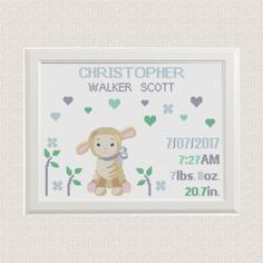 baby boy Birth announcement cross stitch от AnimalsCrossStitch