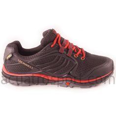 Zapatos Merrell modelo verterra sport gore tex para hombre en color negro con detalles en rojo. Parte superior de malla ligera y transpirable para una óptima ventilación. Refuerzos de nobuck en ambos laterales. Puedes ver más modelos de calzado y material de montaña en nuestras tiendas de la comarca de Pamplona, en Villava, C/ Ezkaba 7 y Burlada C/ Merindad de sangüesa 1. Pamplona, Air Max Sneakers, Sneakers Nike, Adidas, Gore Tex, Color Negra, Unisex, Nike Air Max, Html