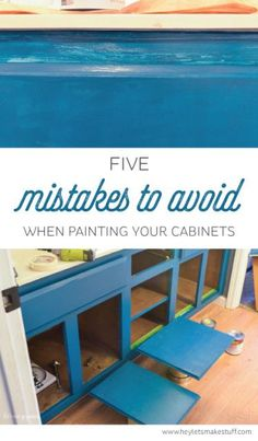 Mistakes to Avoid when Painting Cabinets Make painting your cabinets easier -- avoid these common mistakes!Make painting your cabinets easier -- avoid these common mistakes! Home Renovation, Home Remodeling, Kitchen Remodeling, Painted Furniture, Diy Furniture, Refurbishing Furniture, Outdoor Furniture, D House, How To Make Paint