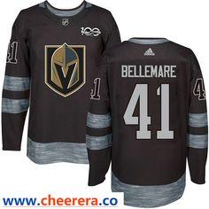 ebb60687 Men's Vegas Golden Knights #41 Pierre-Edouard Bellemare Black Adidas NHL  Jersey 1917-2017 100th Anniversary