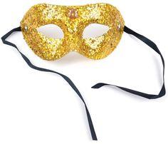 Gold Beaded Masquerade Mask | Glitter Sparkle Venetian Mask | Costume Party, Halloween, Craft, DIY Mask, Eye Mask, Prom, Ball, Wedding