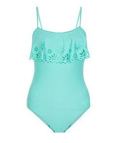New Look Teens Mint Green Lazer Cut Out Flounce Swimsuit Swimsuits For Teens, Modest Swimsuits, Cute Swimsuits, Kids Swimwear, Bathing Suits One Piece, Girls Bathing Suits, Green Swimsuit, Ruffle Swimsuit, Nouveau Look