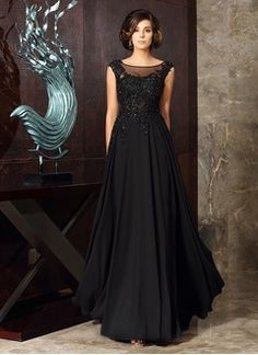 A-Line/Princess Scoop Neck Floor-Length Chiffon Tulle Mother of the Bride Dress With Beading Feather