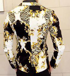 *2014 Gold Black White PILAEO Animal Design Blazer of High Quality And Style| P