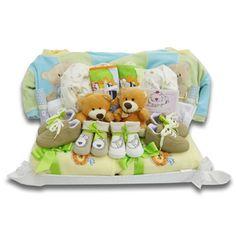 CESTA GEMELOS COLORES. Cestas para gemelos, mellizos, trillizos. Canastillas para bebés y recién nacidos.