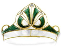 Unusual Art Nouveau Tiara from Scotland made of yellow gold with emerald green enameling and mother of pearl inserts