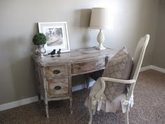 Love everything about this desk area...I even have the lamp in it's original form...I need to spray paint it for sure!