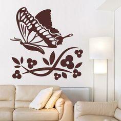 Naklejka welurowa - Kwiatki i motyl | Decorative sticker - Flowers & butterfly | 41,60 PLN #decorative #sticker #flowers #butterfly #home_interior #interior_decor