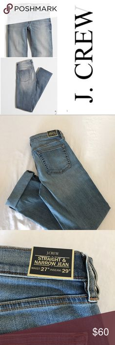 """J.Crew, stretch, nwt, size 27 straight/narrow jean A great fitting jean by J.Crew: The straight and narrow in the DAVIDSON wash, stretch, waist 27, nwt🚫no trades. Can be worn long or folded.Cotton/poly/elastane. Sits at hip. Straight through hip and thigh, with a straight, narrow leg. 29"""" inseam. Traditional 5-pocket styling. Machine wash. Import. J. Crew Jeans Straight Leg"""