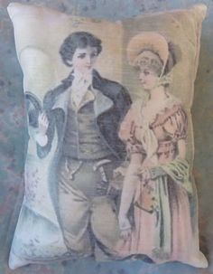JANE AUSTEN TYPE PILLOW w Mr. Darcy QUOTE ON BACK $15