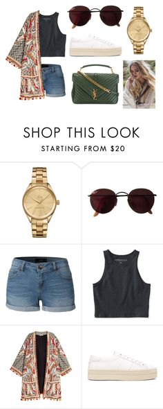 """""""THROUGH THE DARK"""" by laura-melissa-cortes on Polyvore featuring moda, Lacoste, Ray-Ban, LE3NO, Aéropostale, H&M y Yves Saint Laurent"""