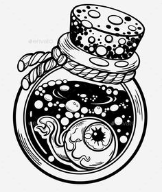 Buy Magic Bottle by Natasha_Mor on GraphicRiver. Tattoo design, magic symbol for your use. Kritzelei Tattoo, Tattoo Drawings, Cute Drawings, Drawing Sketches, Sketchbook Drawings, Drawing Ideas, Bottle Drawing, Magic Bottles, Bottle Tattoo