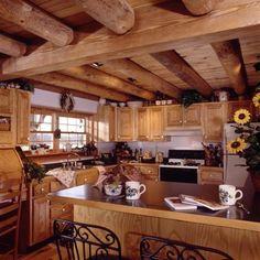 Kentucky log home kitchen Log Home Floor Plans, House Plans, Log Cabin Kits, Log Cabins, Kentucky, Log Home Kitchens, Timber Architecture, Modern House Design, Home Design