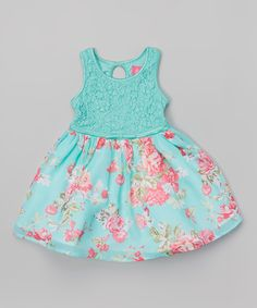 7c6ec0a790a76 Look at this Mint Floral Babydoll Dress - Toddler on  zulily today!