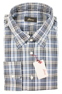 Have some fun, in this Brioni white blue plaid extrafine cotton dress shirt!  |  Go Shopping! http://www.frieschskys.com/shop-brioni  |  #frieschskys #mensfashion #fashion #mensstyle #style #moda #menswear #dapper #stylish #MadeInItaly #Italy #couture #highfashion #designer #shopping